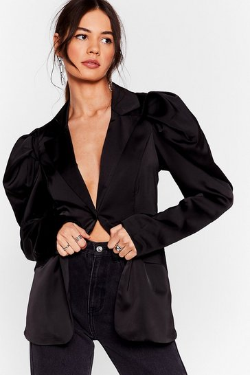 Black Satin It to Win It Satin Puff Sleeve Blazer