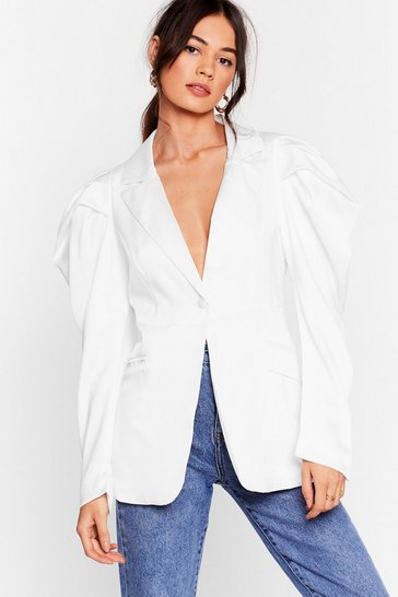 White Satin It to Win It Satin Puff Sleeve Blazer