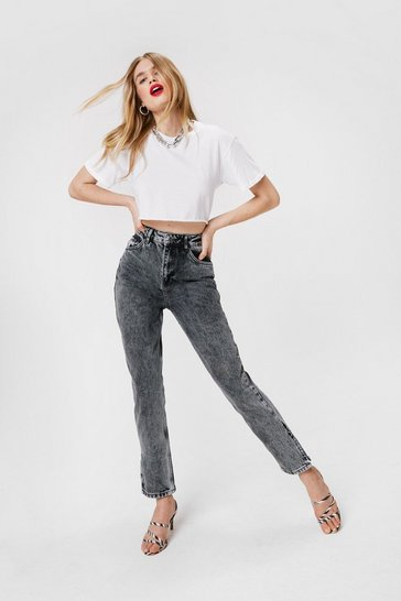 Light grey Acid Wash Straight Leg Mom Jeans