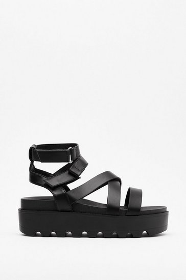 Black Back On Your Feet Cleated Strappy Sandals