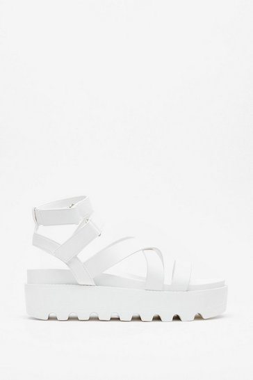 White Cleated Strappy Platform Sandals