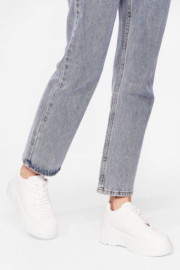 White Moving On Faux Leather Chunky Sneakers