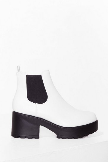 White Up to Trouble Platform Chelsea Boots