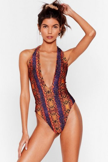 Orange Morning Sun Snake Plunging Swimsuit