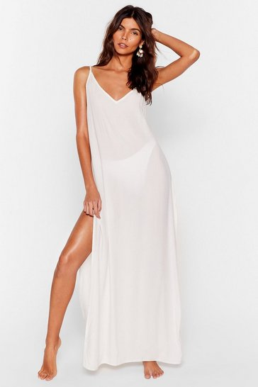 Cream Haven't Sea-n You in Forever Cover-Up Maxi Dress