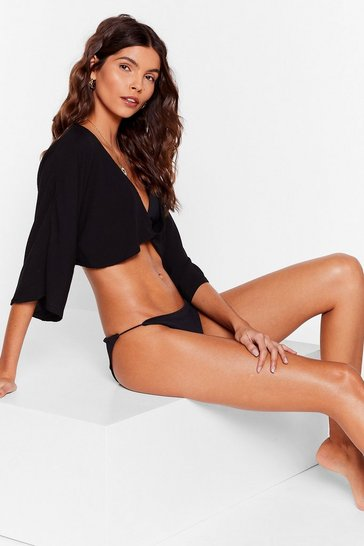 Black Let Me V Twist Cover-Up Top