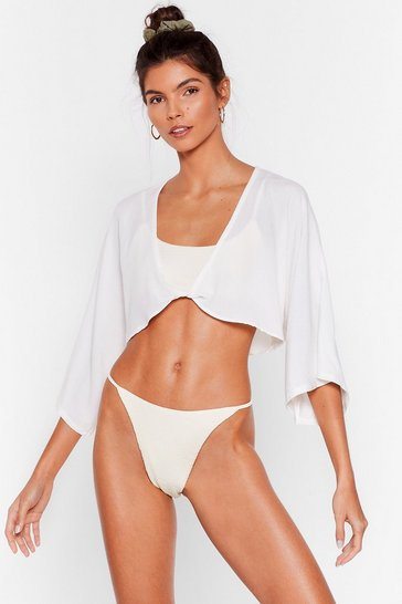Cream Let Me V Twist Cover-Up Top