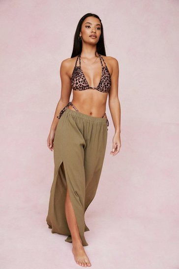 Khaki Crinkle Slit Wide Leg Cover Up Pants