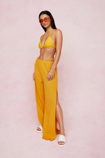 Mustard Water Your Plans Wide-Leg Cover-Up Pants
