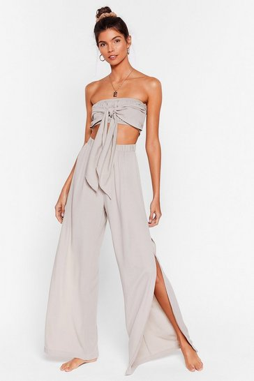 Stone Crinkle Slit Wide Leg Cover Up Pants