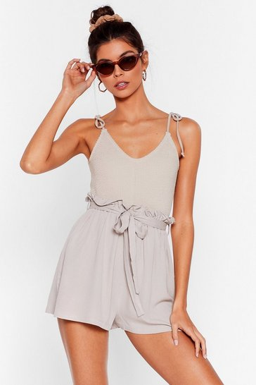Stone Go With the Flow Paperbag Cover-Up Shorts