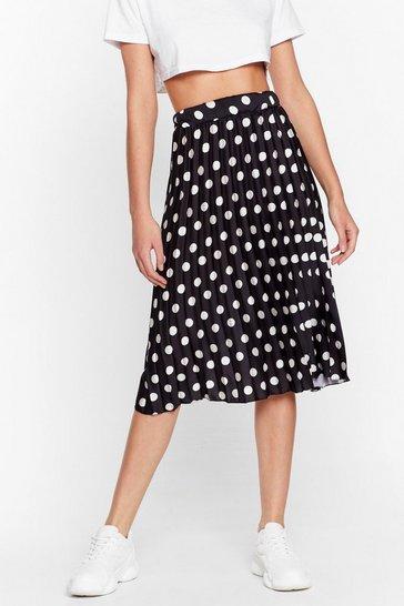 Black We've Dot Your Back Satin Midi Skirt
