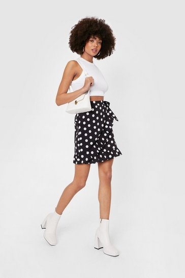 Black Polka Dot Side Wrap Mini Skirt