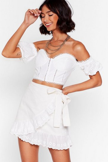 White We Frill Like Eachother Broderie Anglaise Mini Skirt