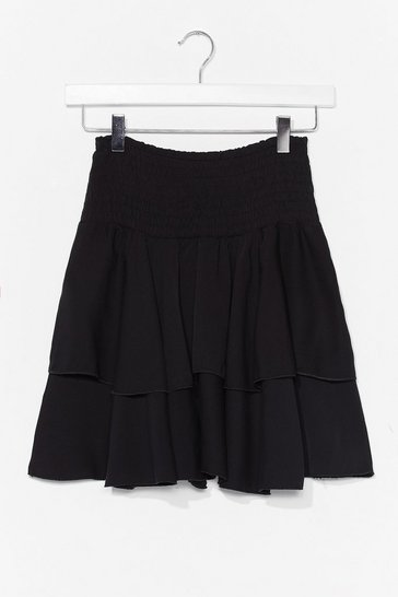 Black You Know the Frill Shirred Mini Skirt