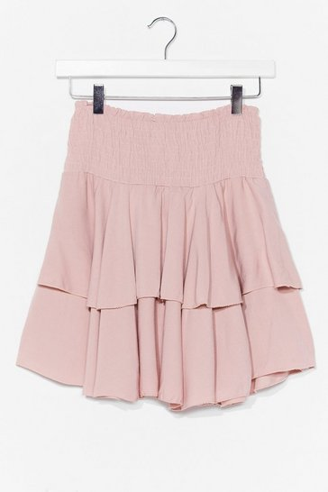 Pink You Know the Frill Shirred Mini Skirt