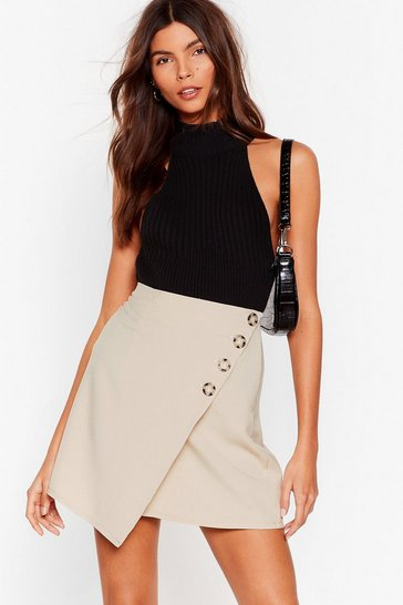 Beige From Now Button Wrap Mini Skirt