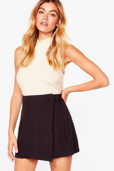 Black I Wonder Tie Wrap Mini Skirt