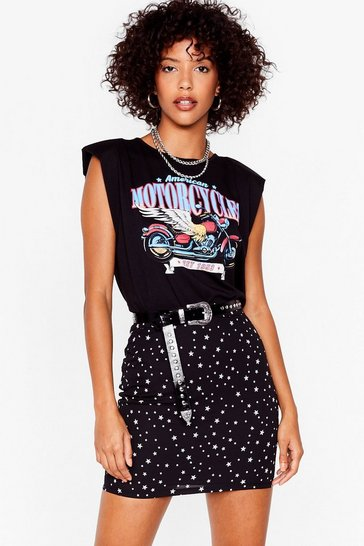 Black Let's Star-t Over Mini Skirt