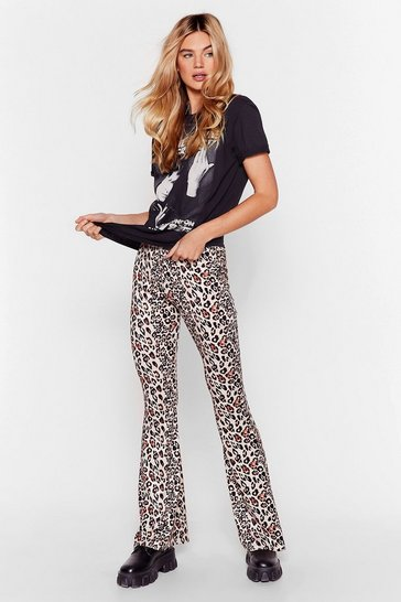 Cream From This Meow-ment On Leopard Flare Pants
