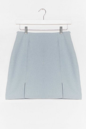 Blue A Line Front Slit Mini Skirt
