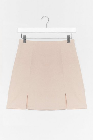 Stone A Line Front Slit Mini Skirt