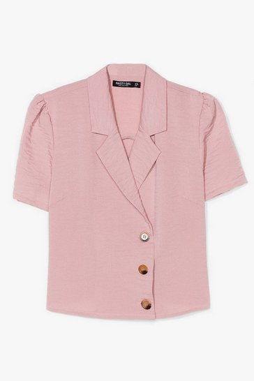Rose No If's or Buttons Puff Sleeve Cropped Blouse