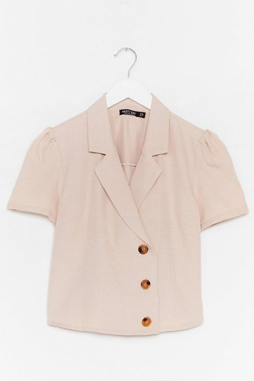 Stone No If's or Buttons Puff Sleeve Cropped Blouse