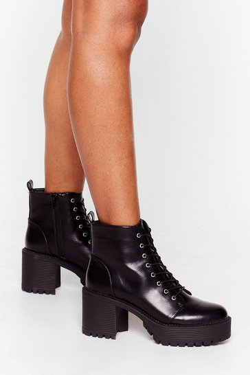 Black Never Give Lace-Up Platform Ankle Boots
