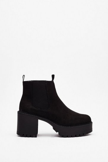 Black Get High Faux Suede Platform Boots