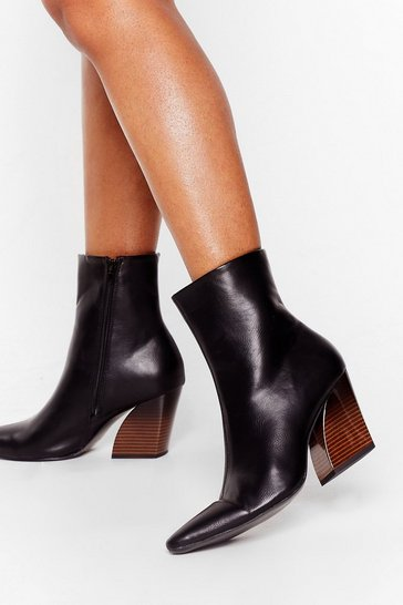 Black Gotta Curve 'Em Faux Leather Heeled Boots