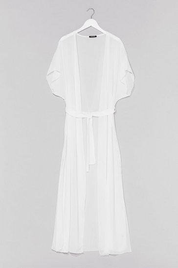 White Chiffon Double Split Maxi Cover Up