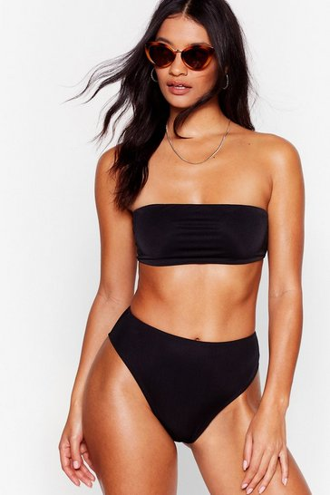 Black Let's Get Salty High-Leg Bikini Bottoms