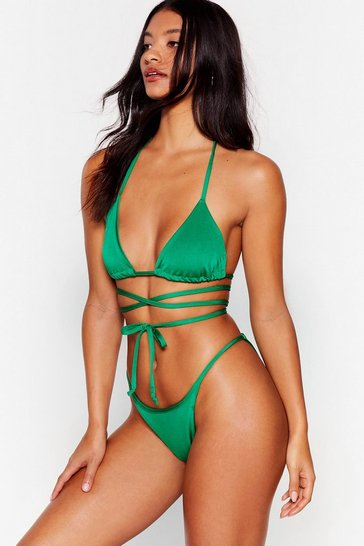 Green Flow With It High-Leg Bikini Bottoms