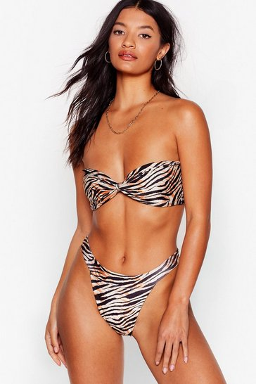 Stone Herd There's a Pool Party Zebra Bandeau Bikini Set