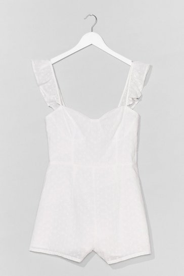 White  Broderie Strappy Playsuit