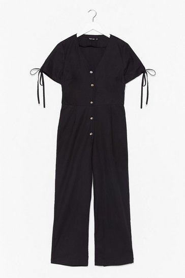 Black Stop Look and Linen V-Neck Button-Down Jumpsuit