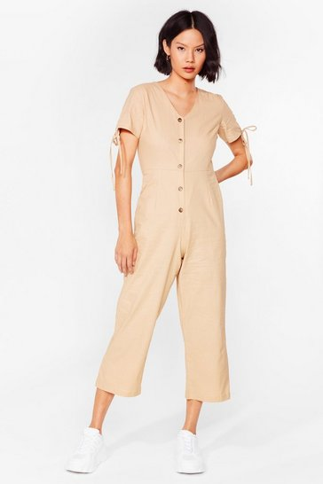 Stone Linen V Neck Button Up Jumpsuit