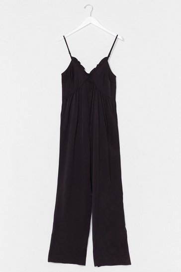 Black V Neck Cami Wide Leg Jumpsuit