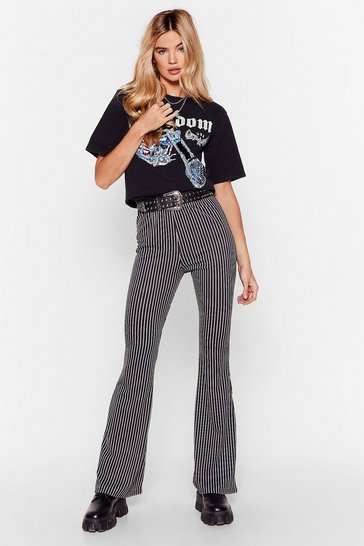 Black You'll Be Line Striped Flare Pants