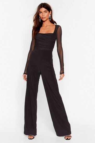 Black Square Your Thoughts Ruched Wide-Leg Jumpsuit