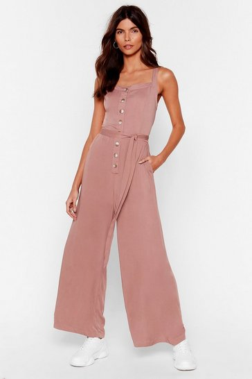 Pink Slinky Button Down Wide Leg Jumpsuit