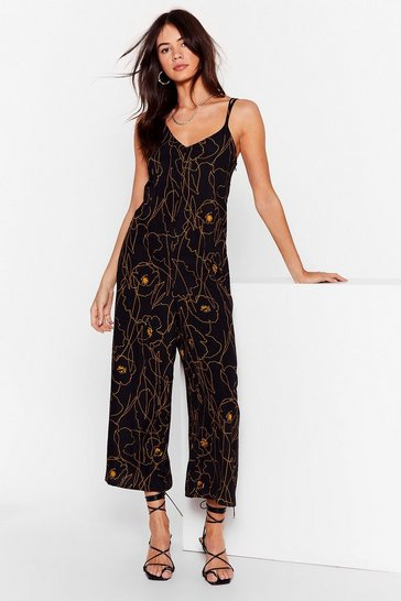 Black Draw Me Like Relaxed Floral Jumpsuit
