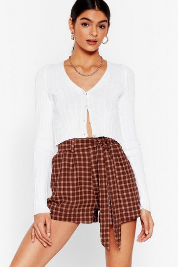 Rust Check You Later High-Waisted Belted Shorts