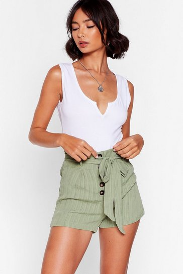 Khaki Give Us a Tie High-Waisted Shorts