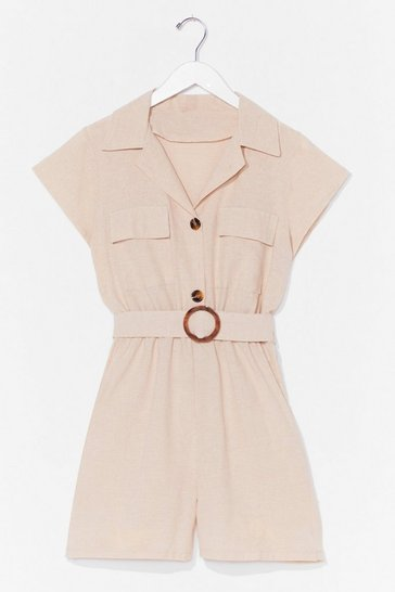 Stone Met You in the Summer Linen Belted Romper