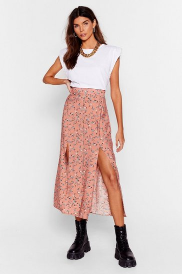 Apricot Plant Let It Happen Floral Midi Skirt