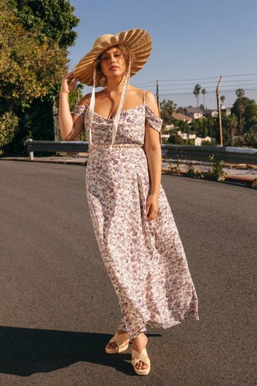 White We Really Lilac You Plus Floral Maxi Dress