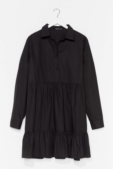 Black Plus Size Cotton Shirt Smock Dress