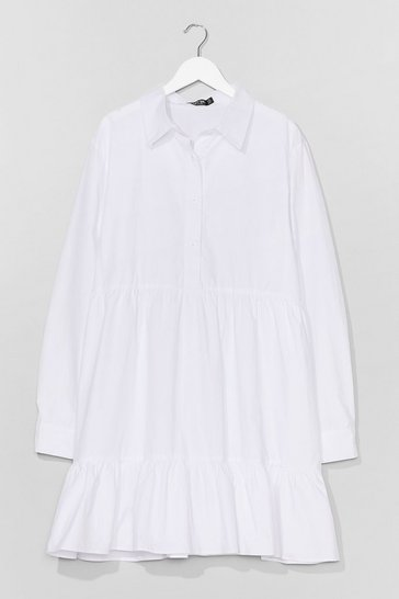 White Plus Cotton Smock Dress